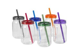 800ml Mason Jar With Coloured lid And Straw