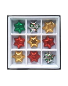 9 X CHRISTMAS CHOCOLATE STARS IN A GIFT BOX AND BRANDED WITH A CUSTOM PRINTED SLEEVE