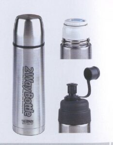 0.5 Ltr Stainless steel Vac.Flask with bonus sports bottle top
