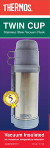 1.0 ltr Twin Cup Stainless steel Vacuum Flask