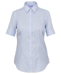 WOMENS CLASSIC FIT SHIRT COTTON POLYESTER MINI HERRINGBONE EASY CARE SHORT SLEEVE