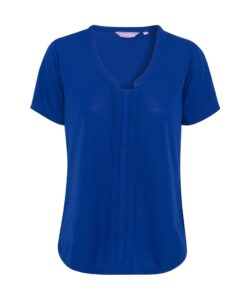 PHASE OUT STYLE: WOMENS RELAXED FIT JERSEY TOP POLYESTER V NECK EASY CARE