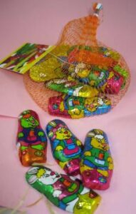 Milk Chocolate Easter Bunnies In A Mesh Bag With Logo Tag
