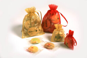 Organza bag filled with biscuits