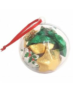 CHRISTMAS ORNAMENTS FILLED WITH CHRISTMAS CHOCOLATE STARS OR BELLS