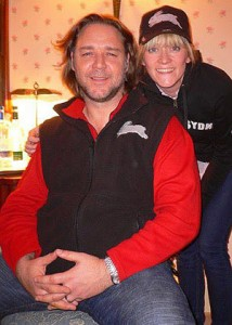 Russell Crowe with Edith Bowman from Radio 1 wearing Rabbitohs Cap