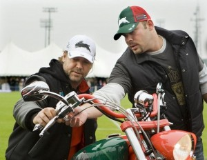 Paul Jnr from Orange County Choppers wearing Rabbitohs Cap