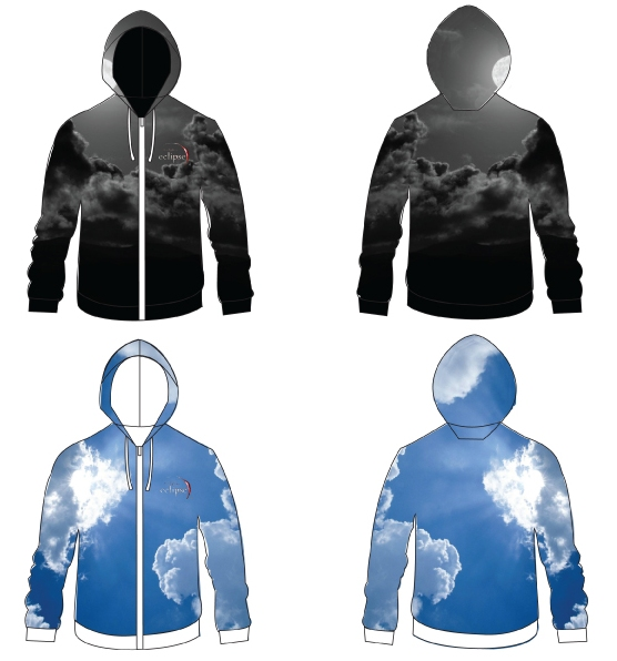 Night & Day reversible Eclipse Hoodie design